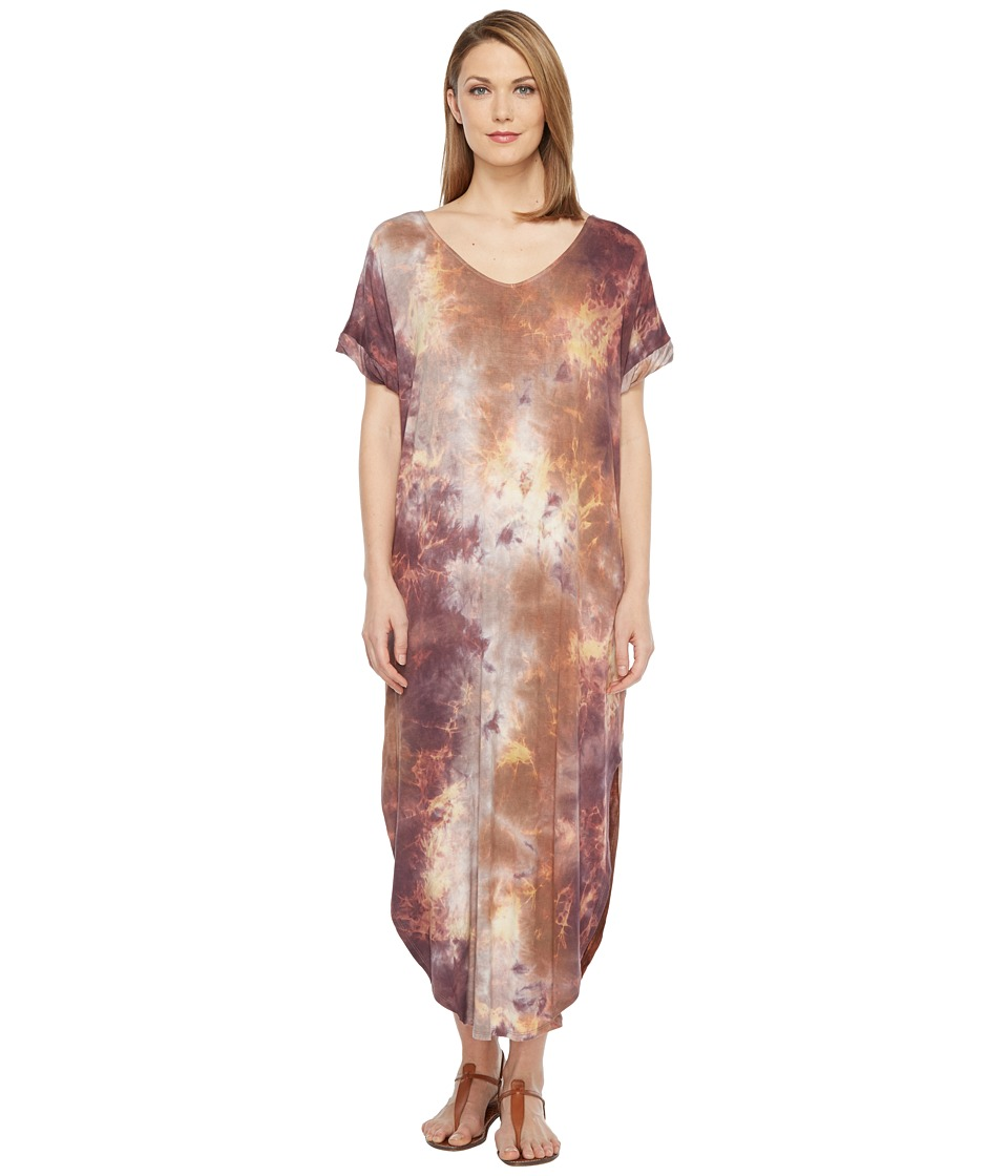 Culture Phit - Tay Short Sleeve Tie-Dye Maxi Dress (Purple) Women's Dress