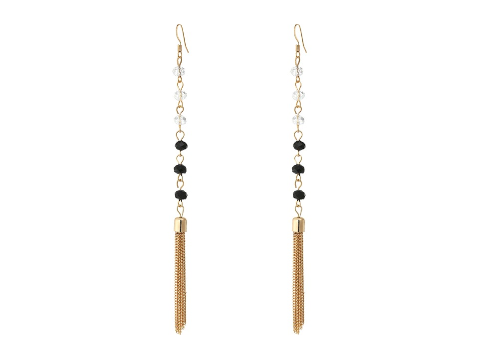 GUESS - Rosary Bead Tassel Linear Earrings (Gold/Crystal/Jet) Earring