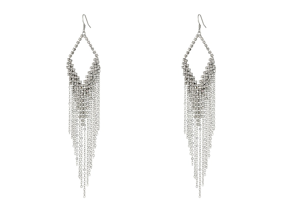 GUESS - Kite Shaped Drop Earrings with Metal Fringe (Silver/Crystal) Earring