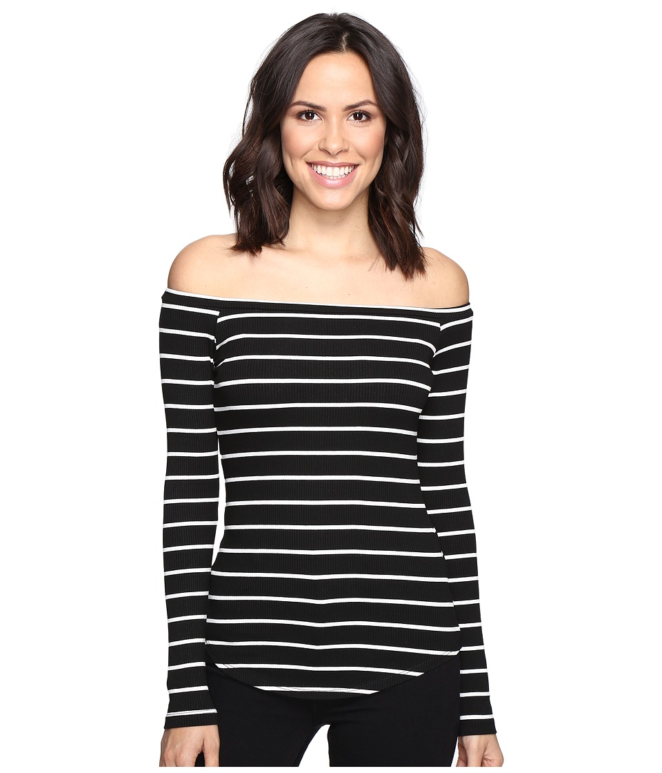 LNA - Off the Shoulder Top (Cream/Black Stripe) Women's Long Sleeve Pullover