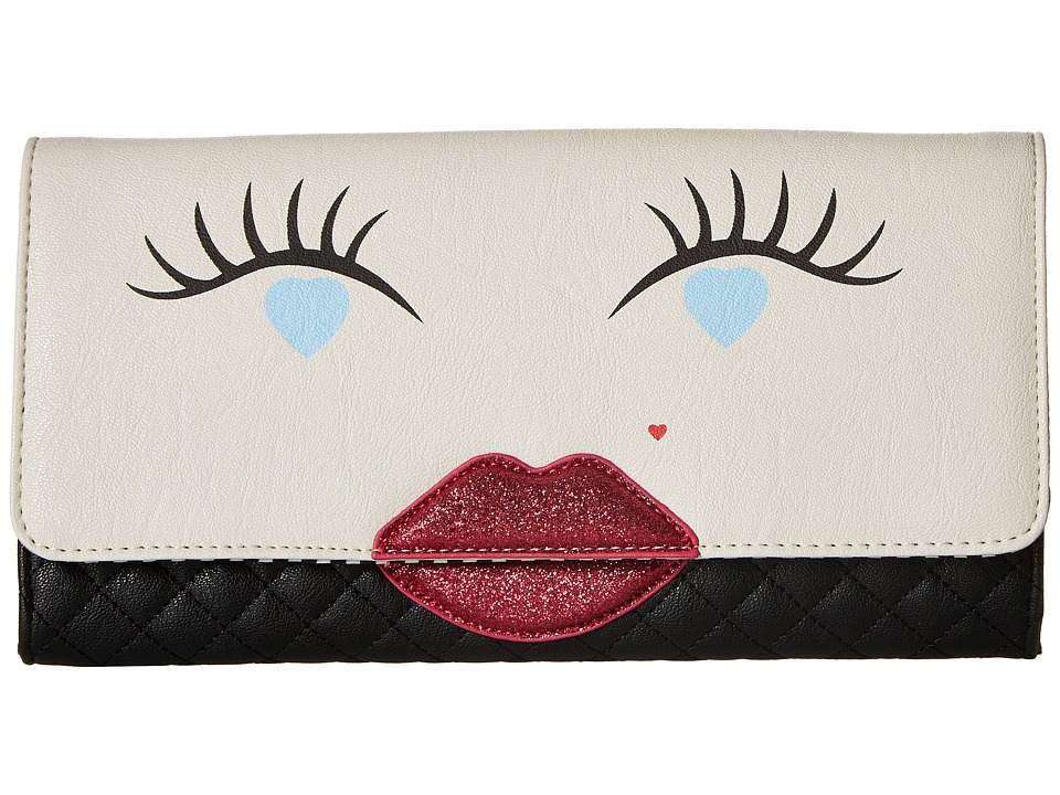 Luv Betsey - Kisses PVC Kitch Clutch (Black/White) Clutch Handbags
