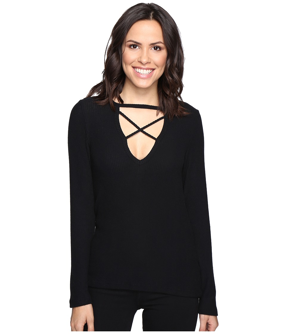 LNA - Crosser Top (Black) Women's Long Sleeve Pullover