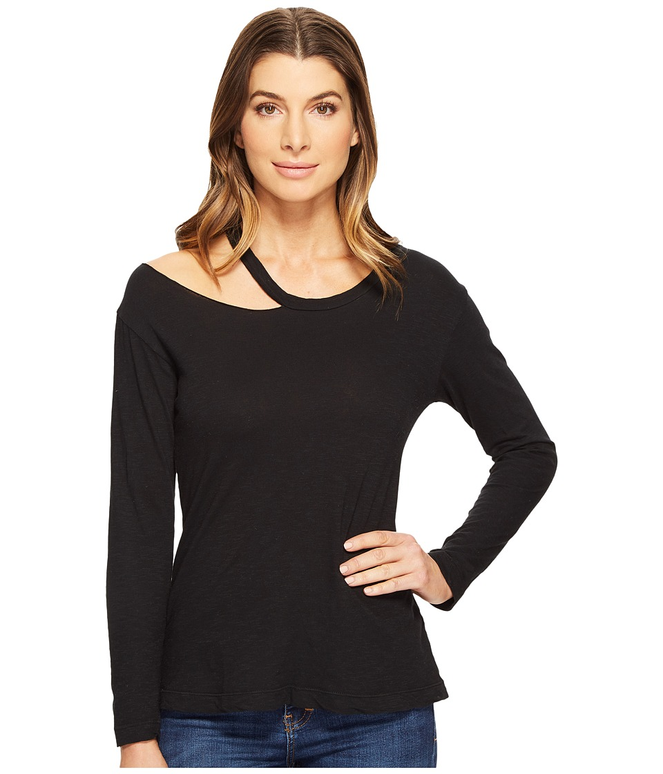 LNA - Torn Shoulder Long Sleeve (Black) Women's Long Sleeve Pullover