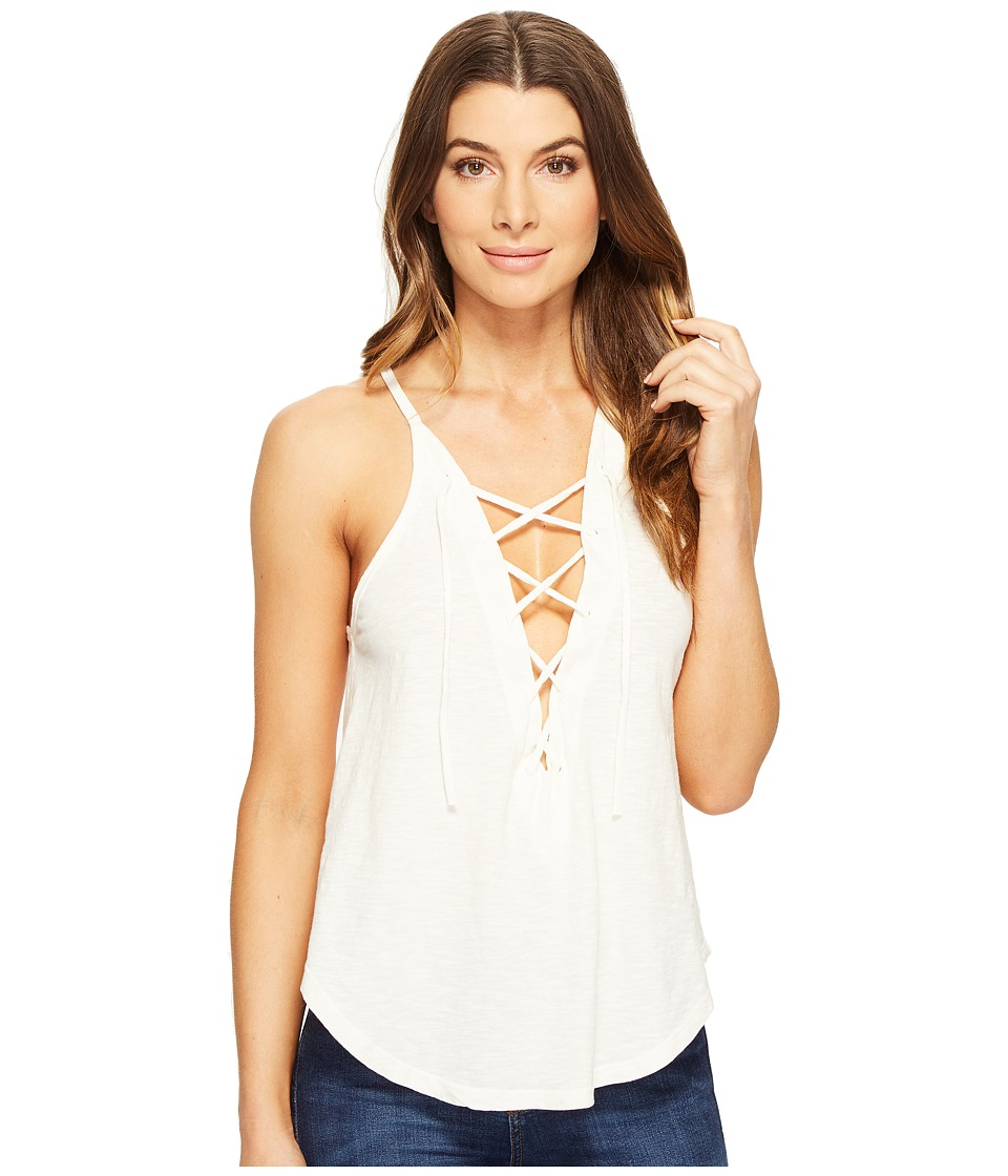 LNA - Lace-Up Bib Tank Top (Ivory) Women's Sleeveless