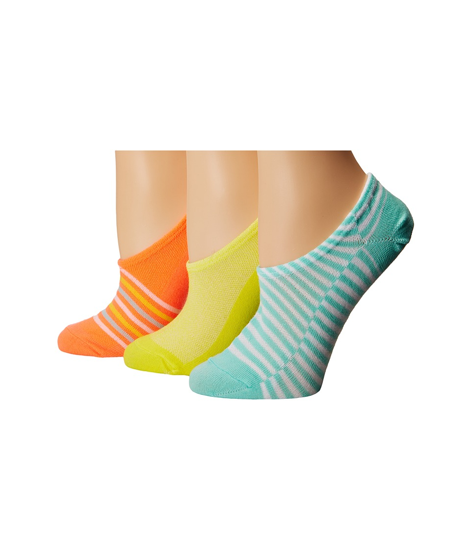 Converse - Chucks Mesh Top Stripe 3-Pair Pack (Hyper Orange Multi) Women's No Show Socks Shoes