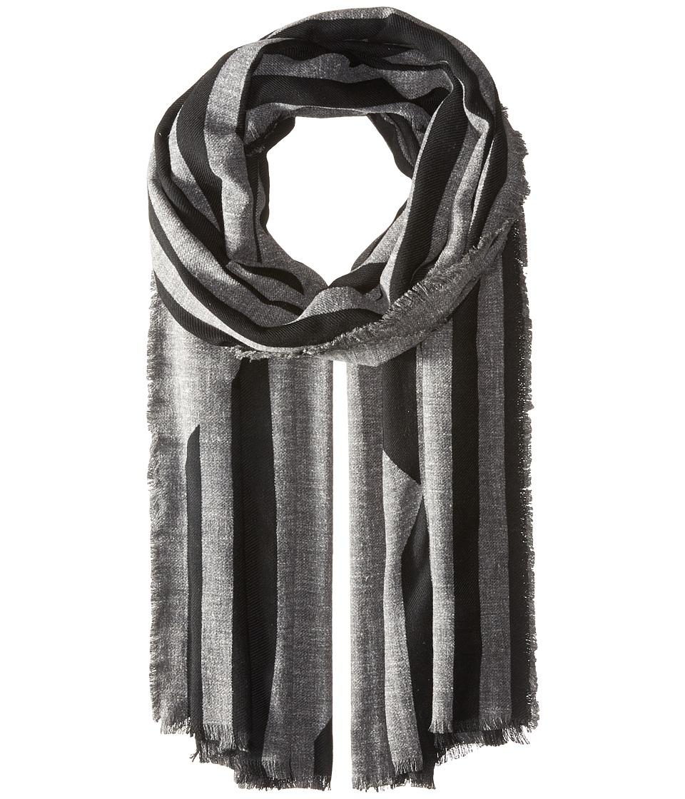 BCBGMAXAZRIA - Distorted Blocks Wrap (Black) Scarves
