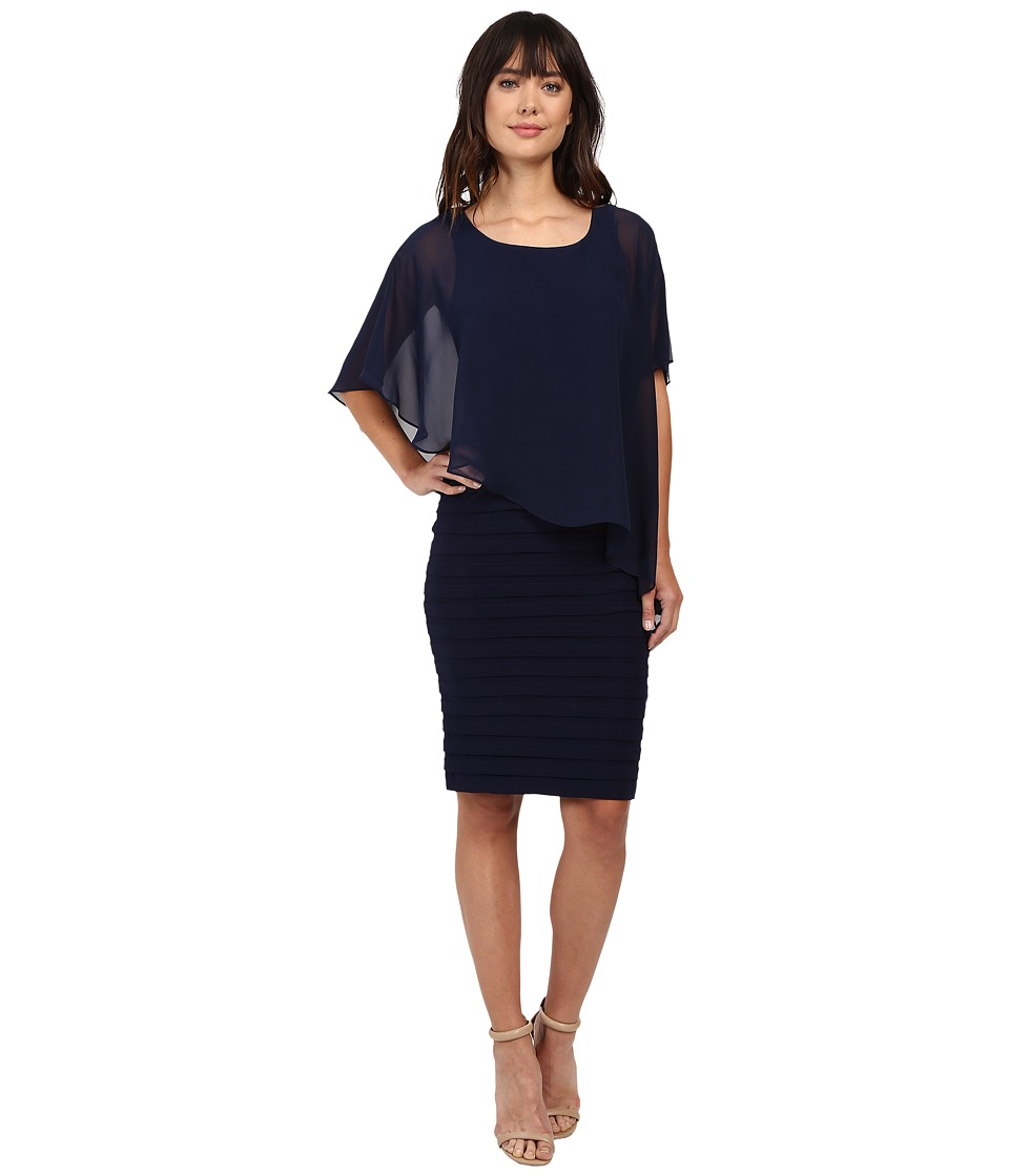 Adrianna Papell - Chiffon Drape Overlay With Banding (Navy) Women's Dress
