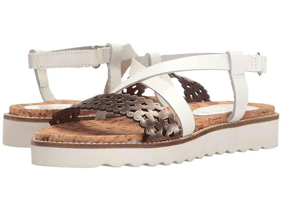 Pazitos - Scallop Diamonds (Little Kid/Big Kid) (White/Gold) Girl's Shoes