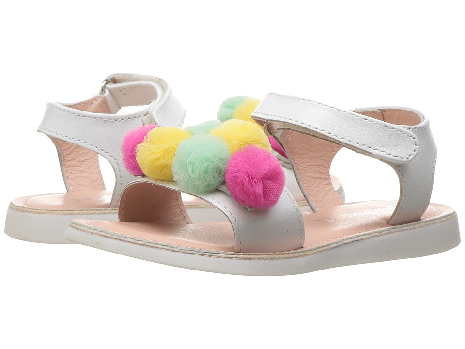 Pazitos - Mini Pom Pom Cluster (Toddler/Little Kid) (White) Girl's Shoes