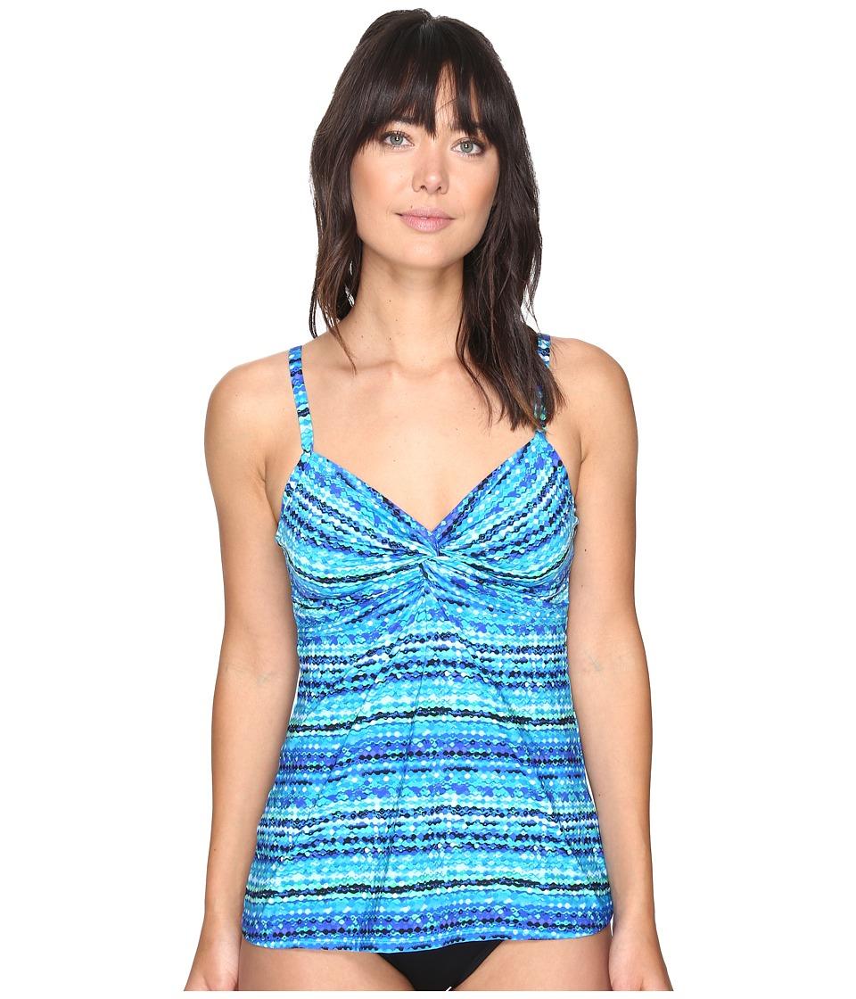 Miraclesuit - Night Lights Roswell Tankini Top (Blue) Women's Swimwear