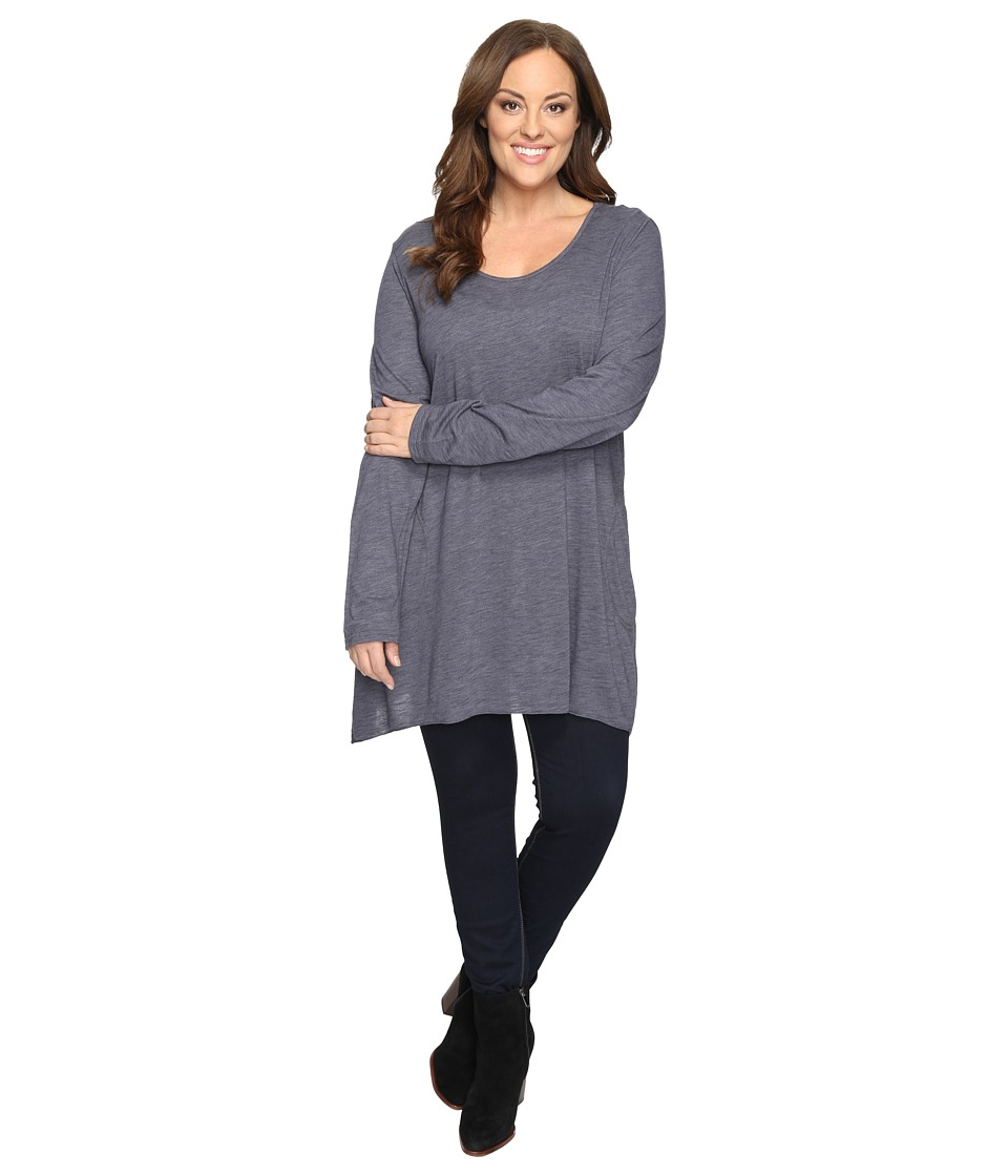 Allen Allen - Plus Size Long Sleeve Scoop Angled Tee (Flint) Women's T Shirt
