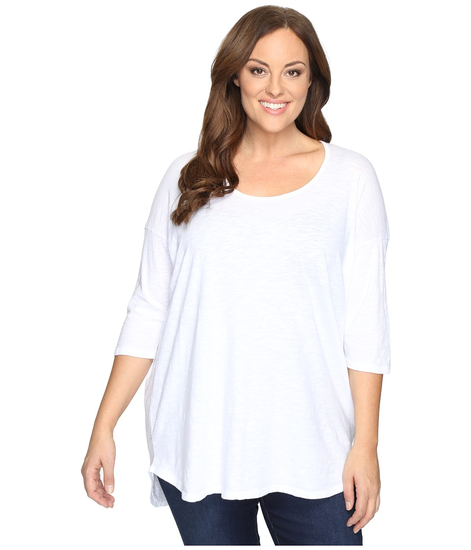 Allen Allen - Plus Size Elbow Sleeve Tee w/ High-Low (White) Women's T Shirt