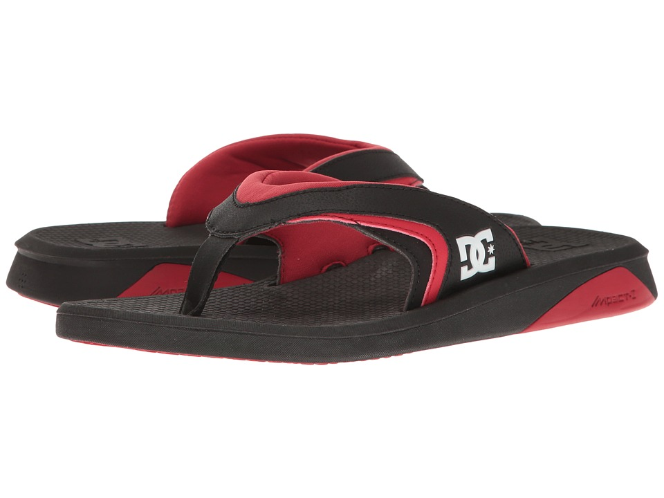 DC - Recoil By Bruce Irons (Black/Black/Red) Men's Sandals