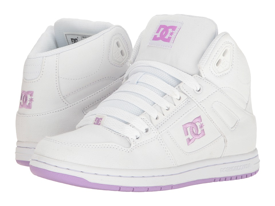 DC - Rebound High TX (White/Lilac) Women's Skate Shoes