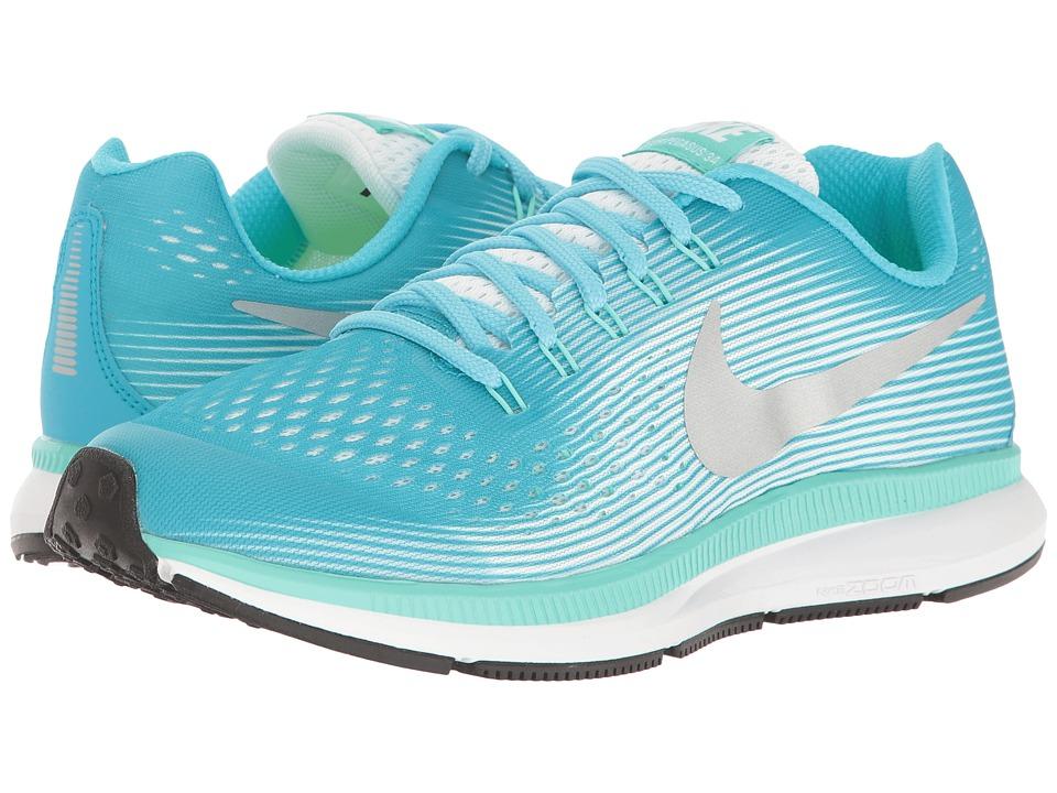Nike Kids - Zoom Pegasus 34 (Little Kid/Big Kid) (Chlorine Blue/Metallic Silver/Hyper Turquoise) Girls Shoes