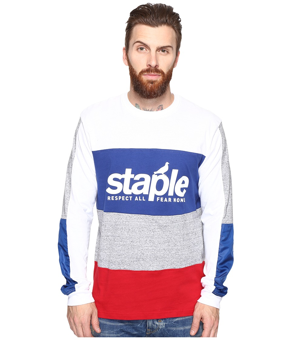 Staple - Blue Long Sleeve Tee (White) Men's Long Sleeve Pullover