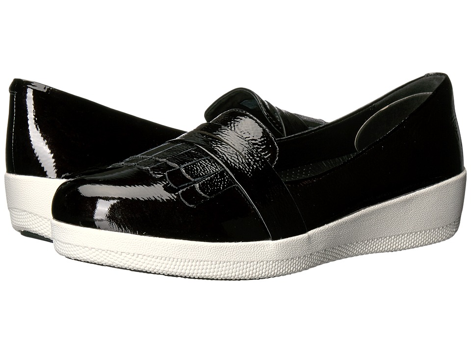 FitFlop - Fringey Sneaker Loafer (Black Patent) Women's Shoes