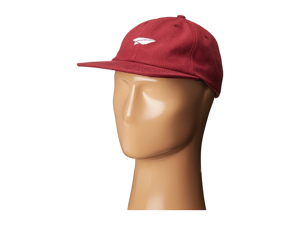 Benny Gold - Paper Plane Canvas Polo Hat (Burgundy) Caps