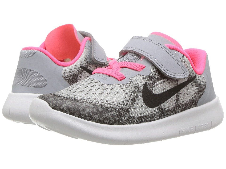 Nike Kids - Free RN 2017 (Infant/Toddler) (Wolf Grey/Black/Racer Pink/White) Girls Shoes