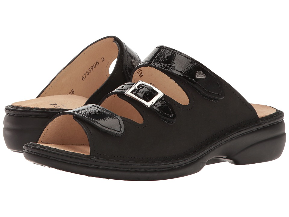 Finn Comfort - Anacapa-S (Black Buggy/Patent) Women's Sandals