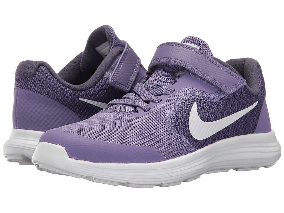 Nike Kids - Revolution 3 (Little Kid) (Purple Earth/Metallic Silver/Dark Raisin) Girls Shoes