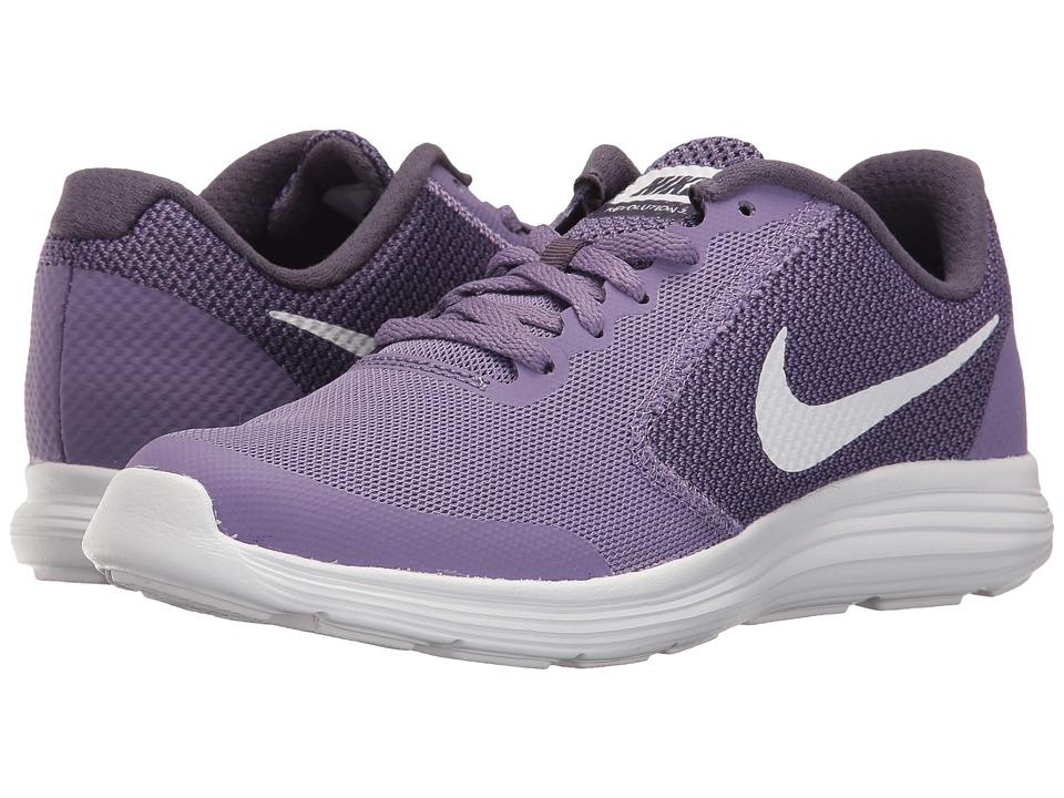 Nike Kids Revolution 3 (Big Kid) (Purple Earth/Metallic Silver/Dark Raisin) Girls Shoes