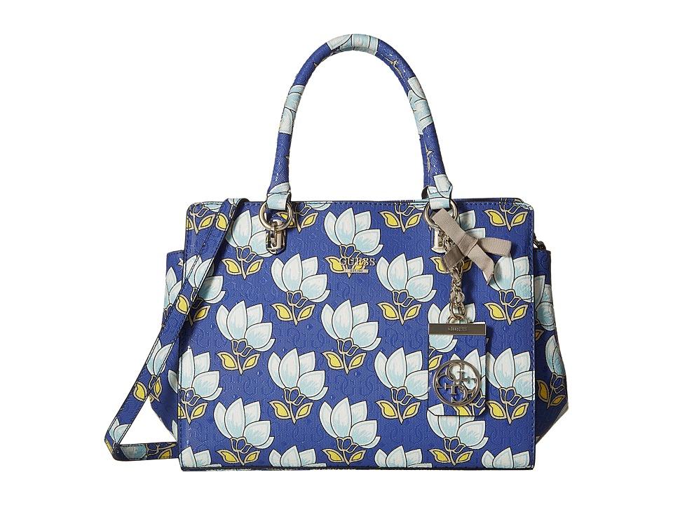 GUESS - Malena Satchel (Cobalt Multi) Satchel Handbags