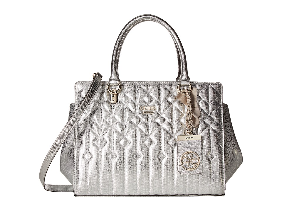 GUESS - Malena Satchel (Silver) Satchel Handbags
