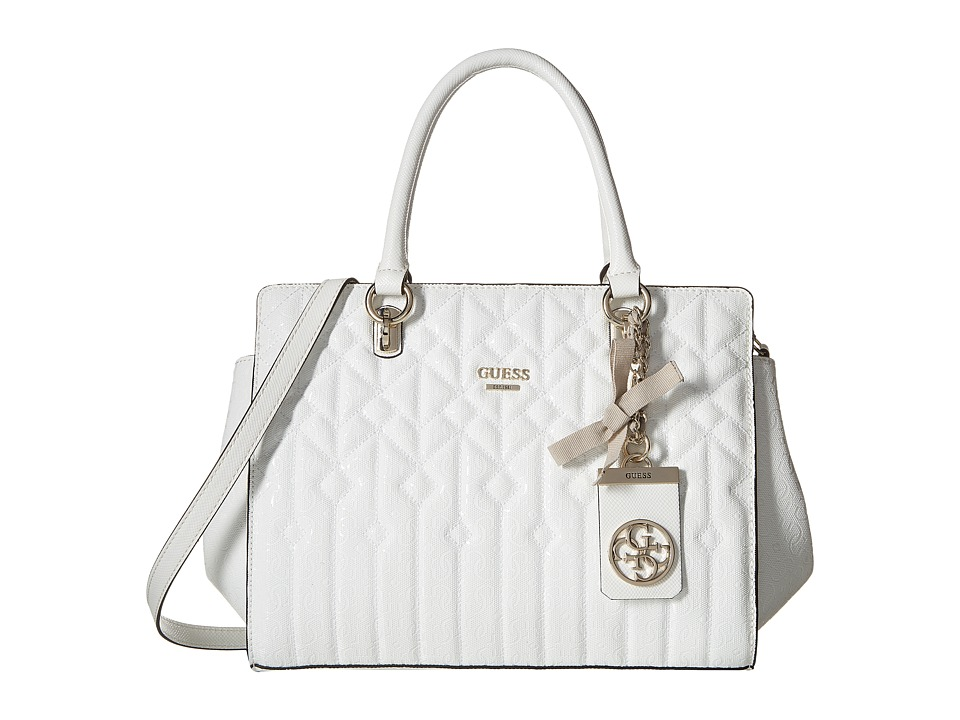 GUESS - Malena Satchel (White) Satchel Handbags