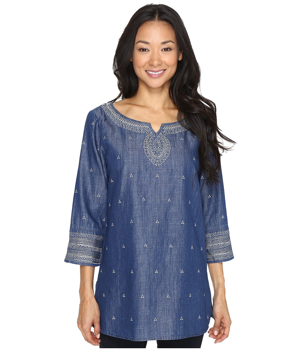 NIC+ZOE - Embroidered Denim Tunic (Mid Denim) Women's Blouse