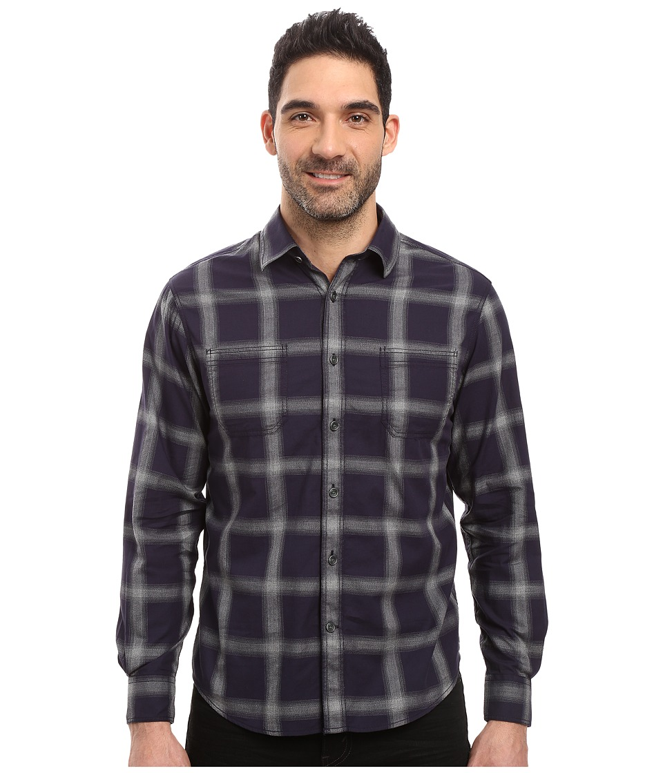 James Campbell - Long Sleeve Woven Chuy Plaid (Navy) Men's Long Sleeve Button Up