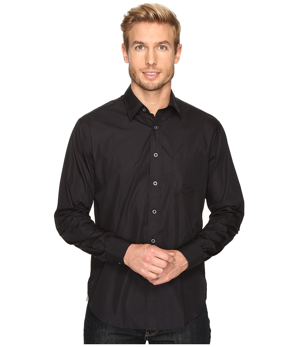 James Campbell - Long Sleeve Woven Upton (Black) Men's Long Sleeve Button Up