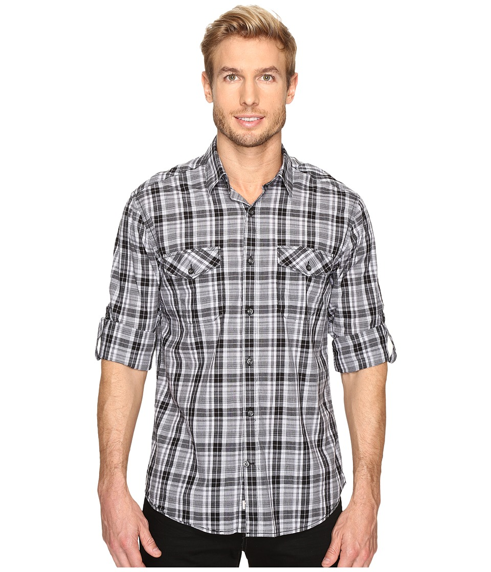 James Campbell - Long Sleeve Woven Fresco Check (Black) Men's Long Sleeve Button Up