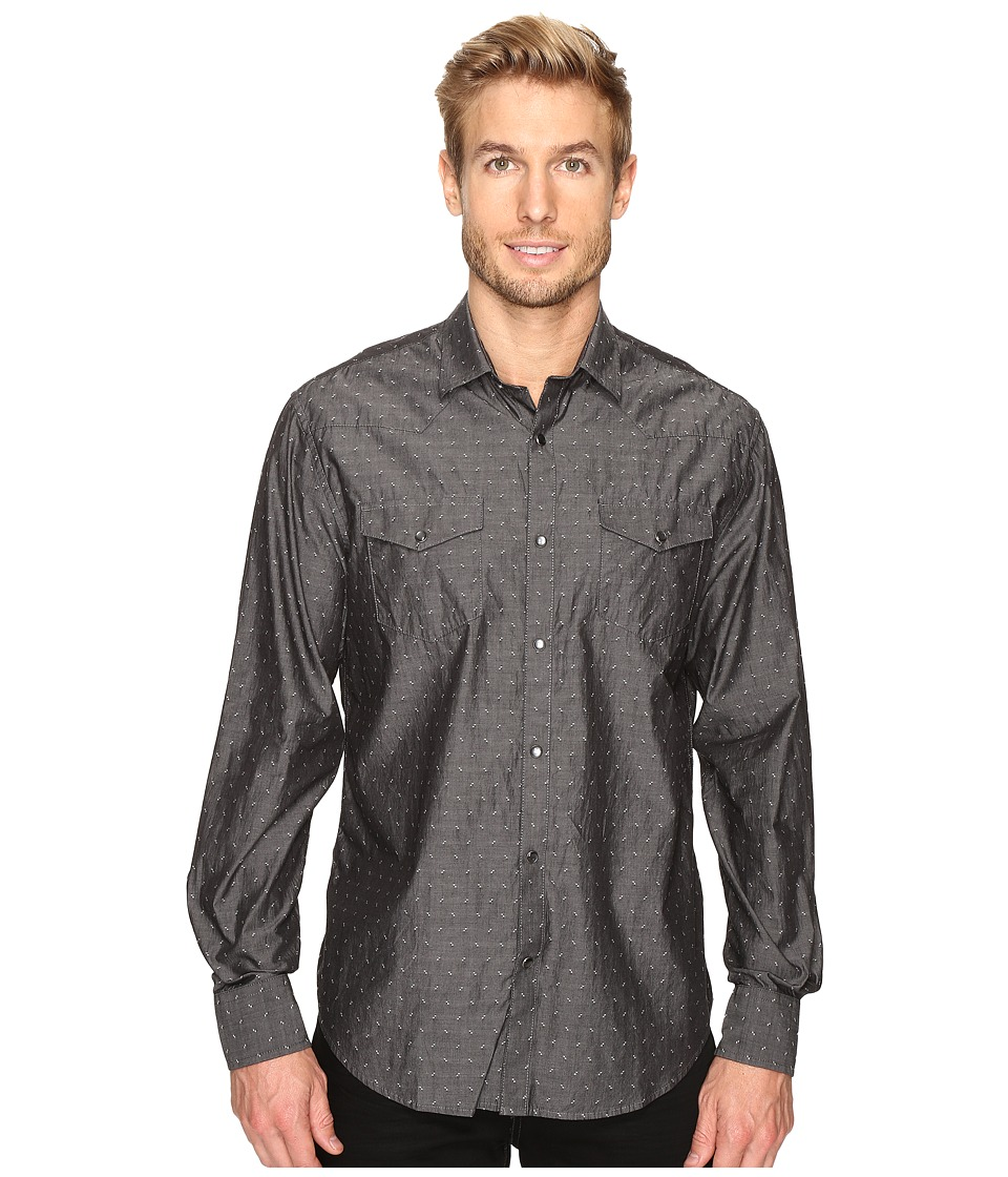 James Campbell - Long Sleeve Woven Lynx (Black) Men's Long Sleeve Button Up