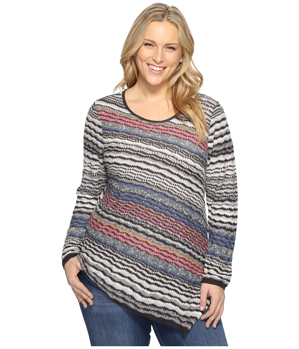 NIC+ZOE - Plus Size Crosswise Top (Multi) Women's Clothing