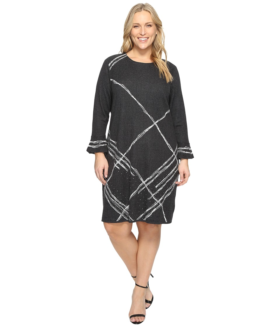NIC+ZOE - Plus Size Checked Cuff Dress (Multi) Women's Dress