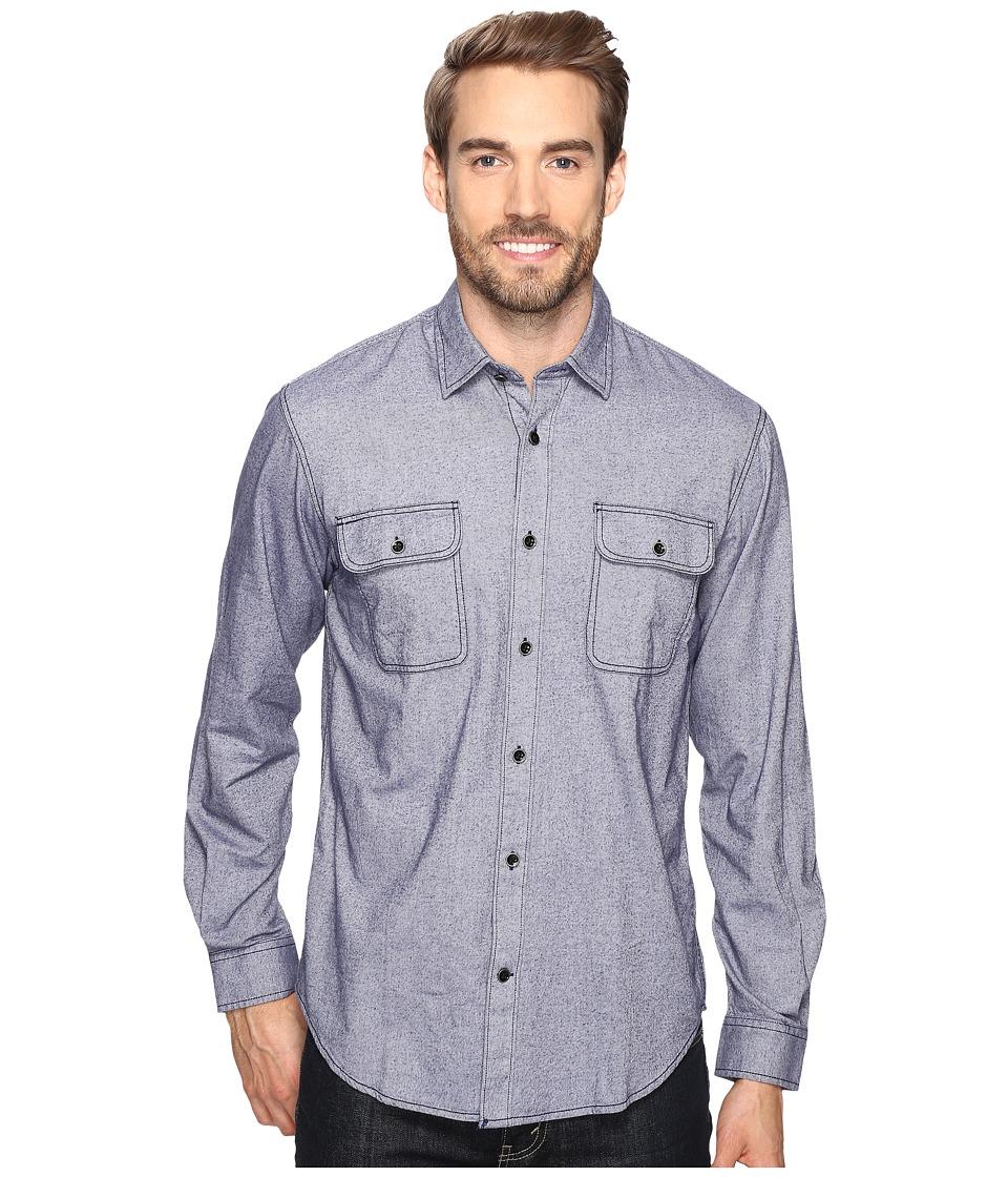 James Campbell - Long Sleeve Woven Soder (Blue) Men's Long Sleeve Button Up