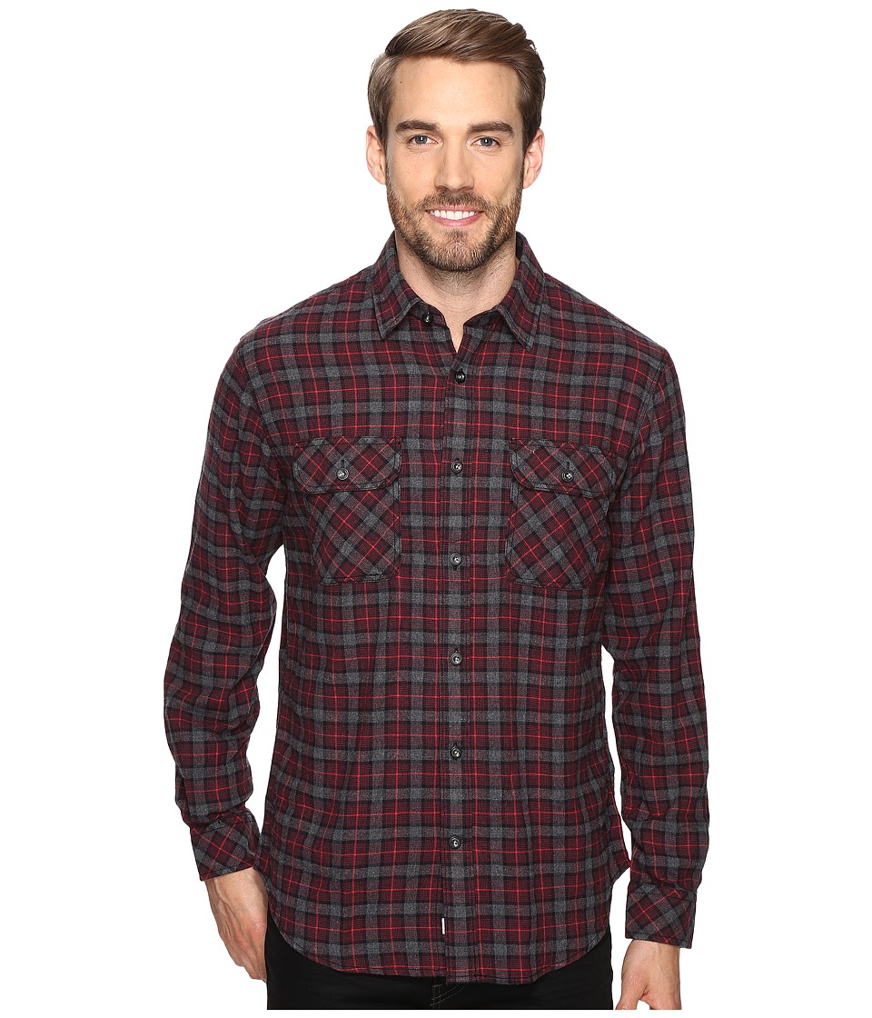 James Campbell - Long Sleeve Woven Primo Plaid (Crimson) Men's Long Sleeve Button Up
