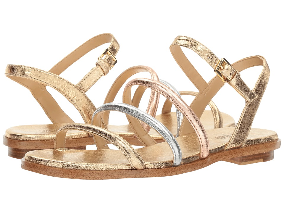 MICHAEL Michael Kors - Nantucket Flat Sandal (Pale Gold/Silver/Rose Gold Metallic Nappa) Women's Sandals