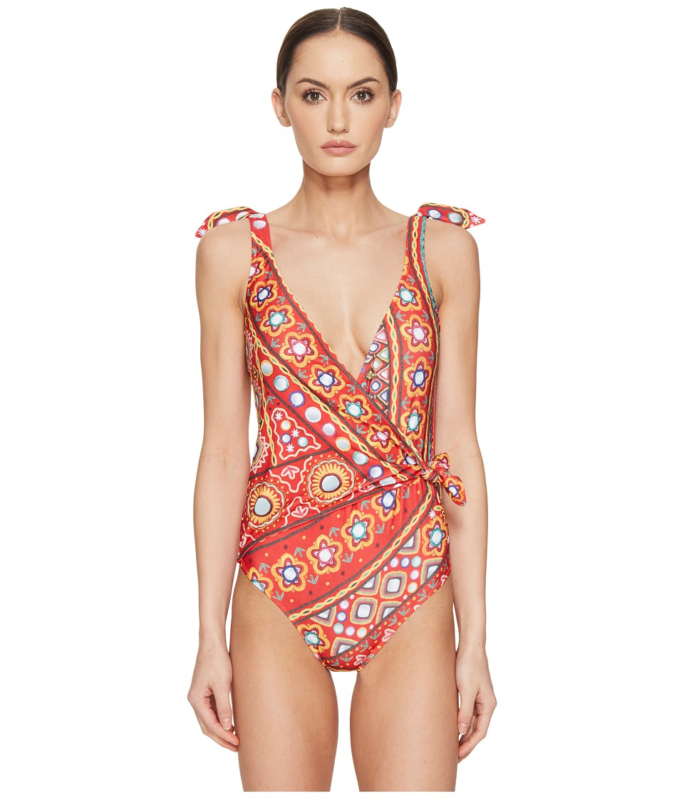 Moschino - India Theme Wrap Front Maillot (Red Multi) Women's Swimsuits One Piece