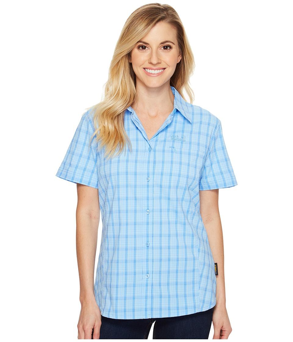 Jack Wolfskin - Centaura Stretch Vent Shirt (Cool Water Checks) Women's Clothing