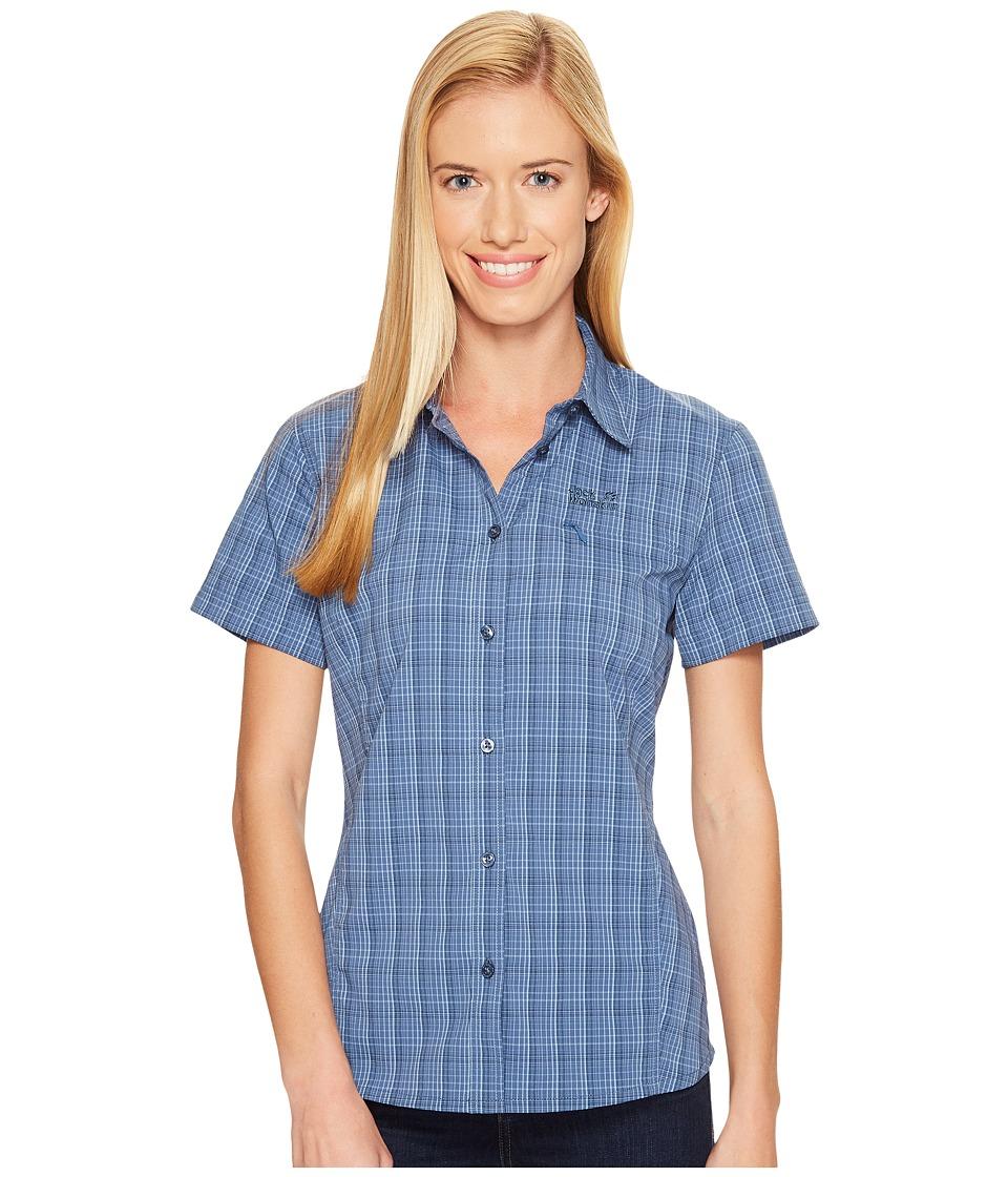 Jack Wolfskin - Centaura Stretch Vent Shirt (Ocean Wave Checks) Women's Clothing