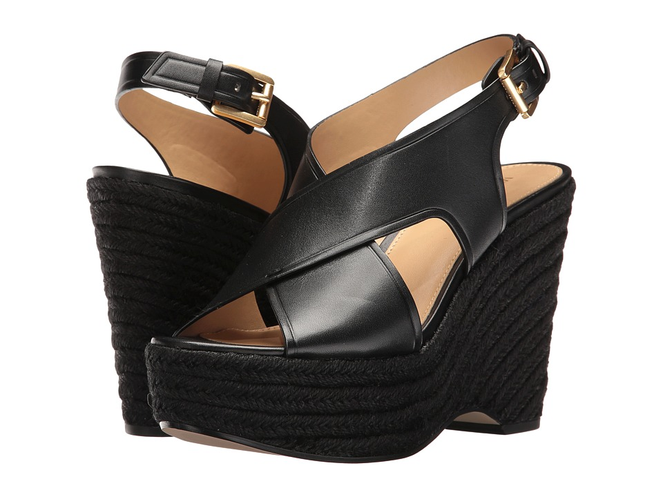 MICHAEL Michael Kors - Angeline Wedge (Black Vachetta/Jute) Women's Shoes