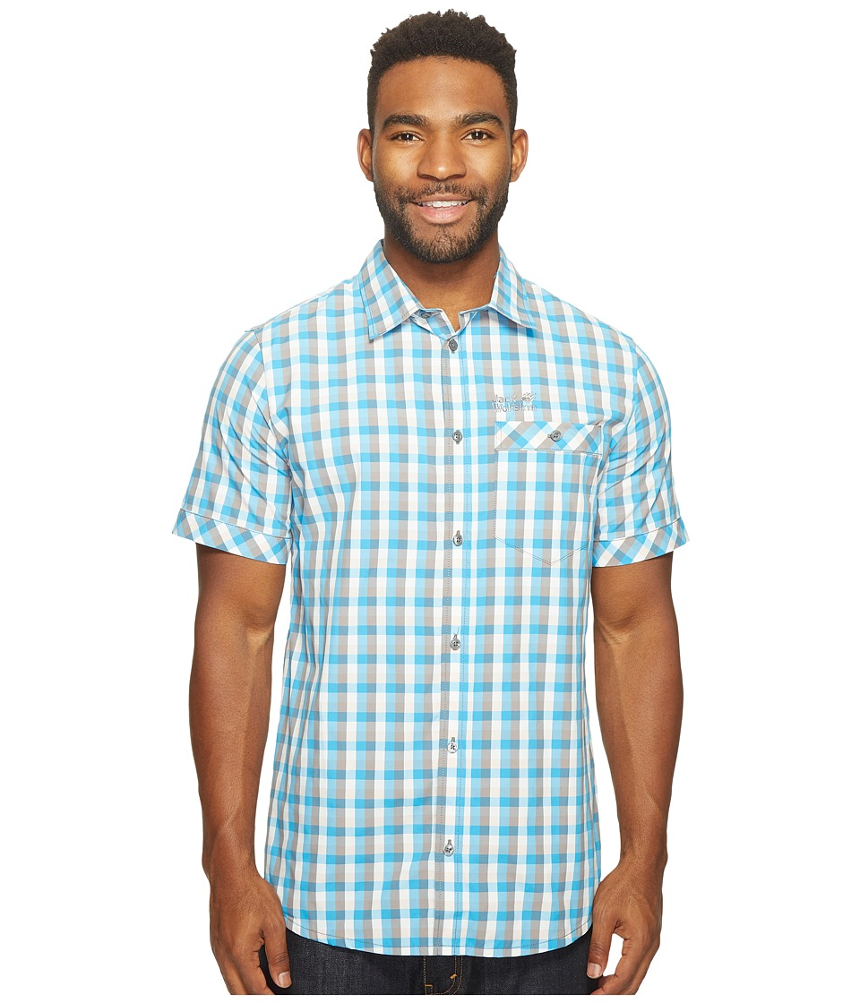 Jack Wolfskin - Napo River Shirt (Ocean Blue Checks) Men's Clothing