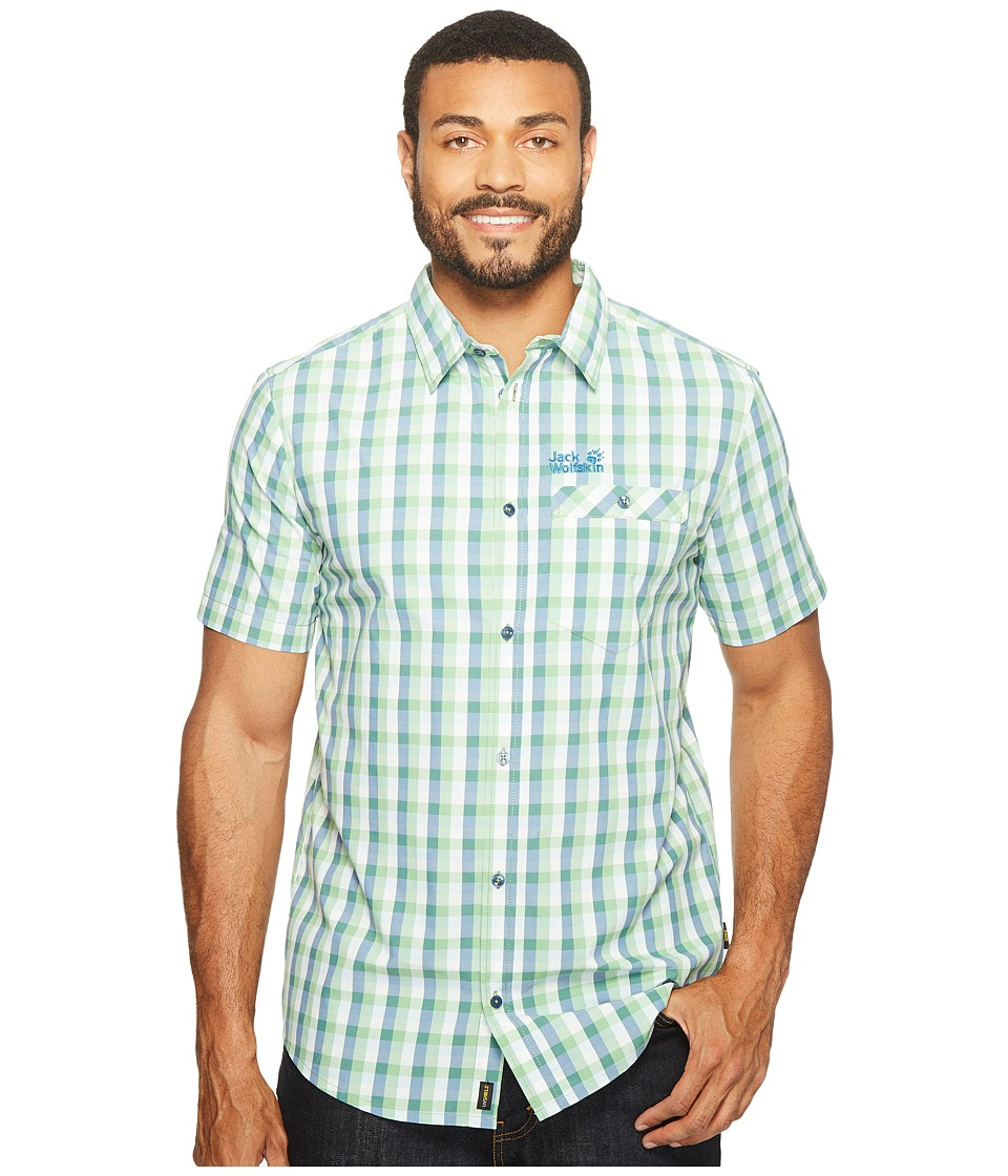 Jack Wolfskin - Napo River Shirt (Vivid Green Checks) Men's Clothing