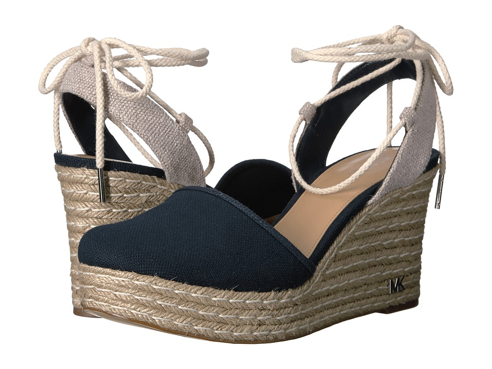 MICHAEL Michael Kors - Margie Closed Toe Wedge (Admiral Small Weave Canvas/Hemp) Women's Shoes