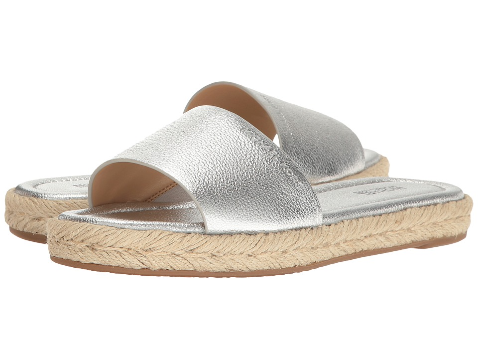 MICHAEL Michael Kors Dempsey Slide (Silver Pebble Metallic) Women