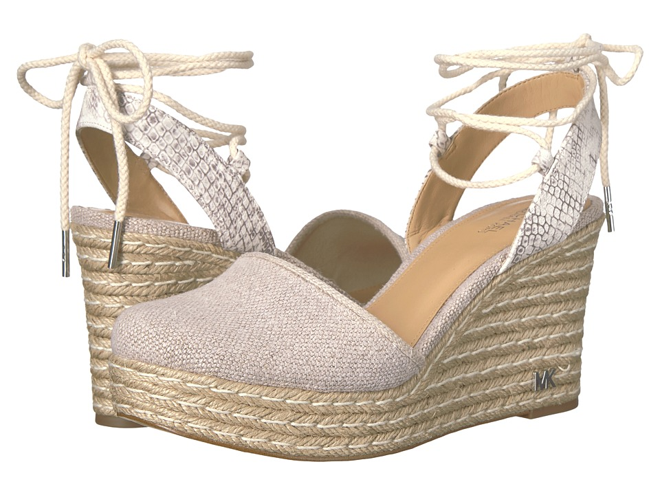 MICHAEL Michael Kors - Margie Closed Toe Wedge (Natural Buffed Embossed Python/Hemp) Women's Shoes