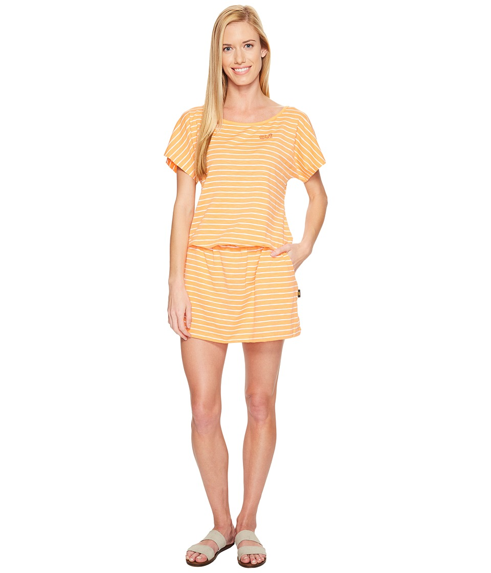 Jack Wolfskin Travel Striped Dress (Papaya Stripes) Women