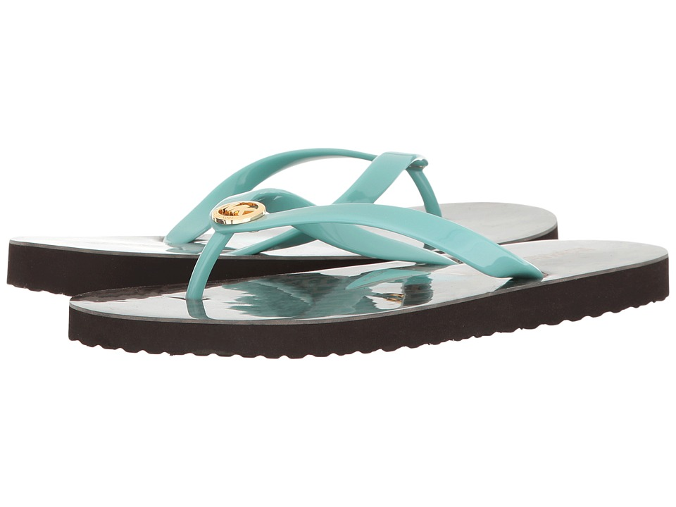 MICHAEL Michael Kors - Flip-Flop Shiny (Icy Turquoise/Brown PVC/Mini MK Logo PVC/Sail Boat) Women's Shoes